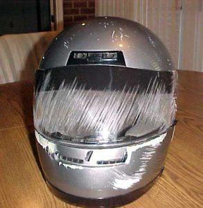 Damaged helmet