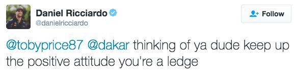 Daniel Ricciardo tweet