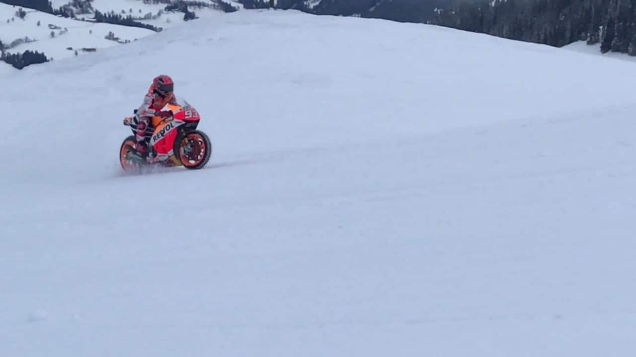 Marc Marquez rides RC213V up a ski slope